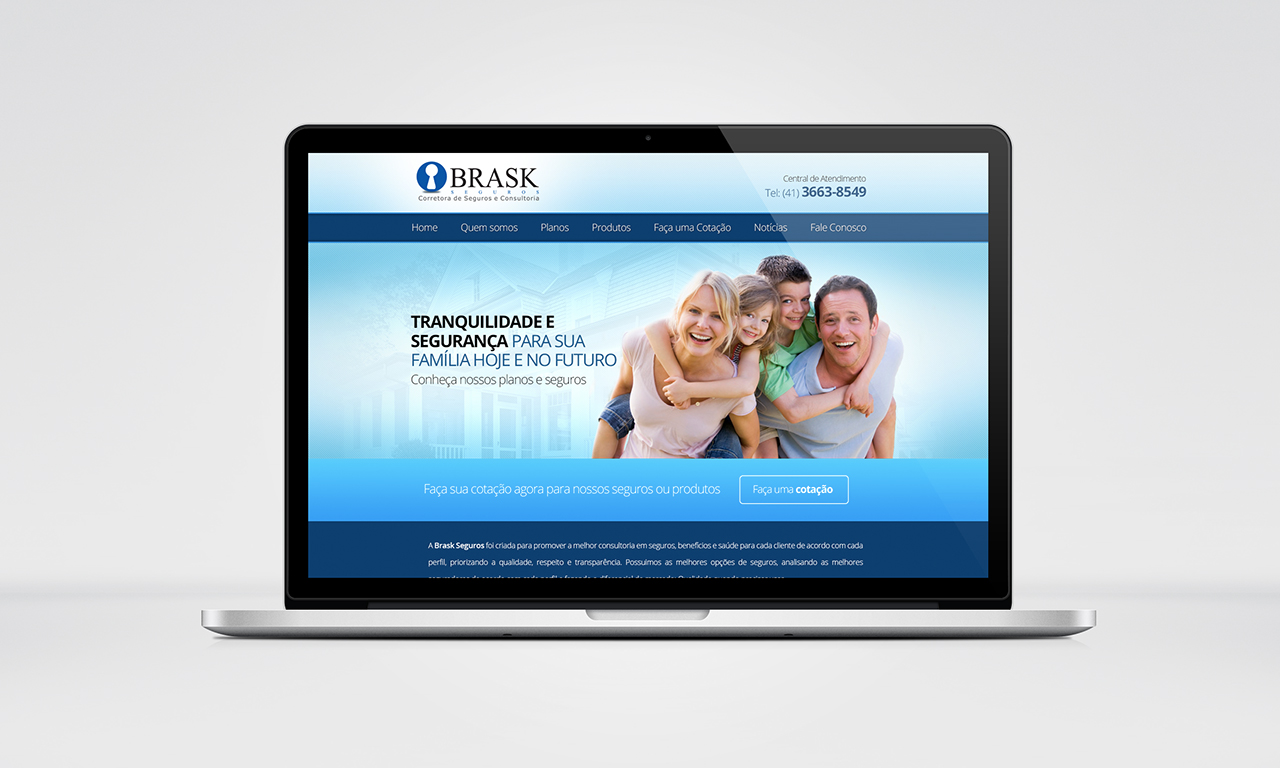 Criação de site responsivo Brask seguros